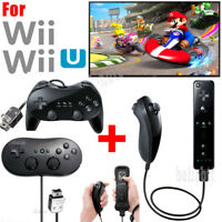For Retro Wii Wii U Remote Controller Nunchuck & Classic Controller Pro Black US