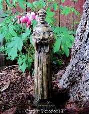 """Small 8"""" ST. FRANCIS OF ASSISI GARDEN STATUE Holding Bird ~ Wood Carved Look!"""