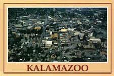 Aerial View of Kalamazoo, Michigan, Downtown Mall, Parks, Streets etc - Postcard