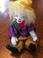 "Vintage 3 1/2"" miniature Clown with Porcelain Head Hands & Feet stuffed body"