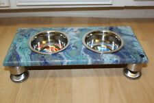 Raised Dog-Cat Feeding Table with 1pt Bowls - BLUE ~ Rectangle