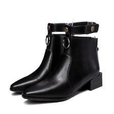 Size 34-48 Women's Buckle Block Low Heel Square Toe Ankle Boots Chelsea Shoes D