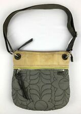 "Vintage Fossil Satchel Purse Women Bag KeyPer Hobo Purse GRY/TAN/GRN 11""x10""x2"""