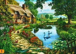 "Steve Crisp ""LAKESIDE COTTAGE"" Swans Garden 300 Pieces BOXLESS Jigsaw Puzzle NEW"