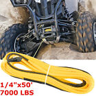 1/4''x50' 7000lbs Yellow Synthetic Winch Rope Line Cable With Rock Guard for ATV