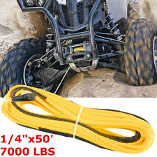 Yellow Synthetic Winch Rope Line Cable 1/4''x50' 7000 LBs w/ Rock Guard For ATV