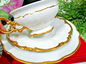 BAVARIA GERMANY tea cup and saucer trio White and gold gilt teacup German footed