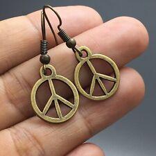 Hippie Boho Peace Sign Vintage Earrings Antique Brass Bronze Gold Tone Dangle
