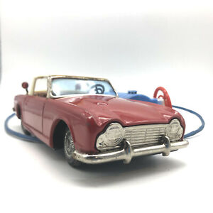 VINTAGE BANDAI TRIUMPH TR4 SPORT JAPAN TIN TOY CAR REMOTE BATTERY OPERATED 21cm