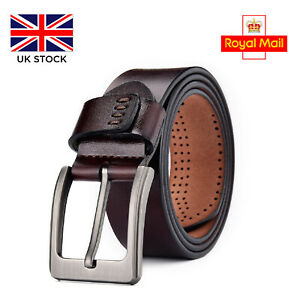 Leather Mens Belt Belts Real New Genuine Buckle Trouser Brown Black Jeans Tan UK