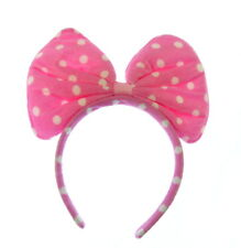 pink spotted oversized bow headband fancy dress