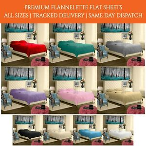 100% Brushed Cotton Flannelette Flat Bed Sheet Bedsheet Or Pillowcase Cover
