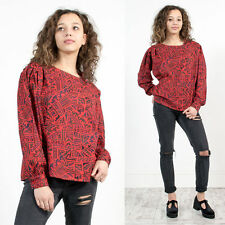 WOMENS VINTAGE 80'S RED ABSTRACT PATTERN SCOOP NECK SMART BLOUSE SHIRT  18