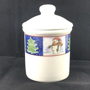 Snowman Crock Royal Norfolk Covered Bowl Ceramic Jar Lid Christmas Tree trinket
