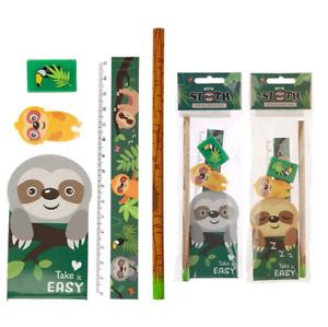 Sloth 5 Piece Stationery Set, Pencil, Ruler Eraser & Pad Stocking Filler Gift