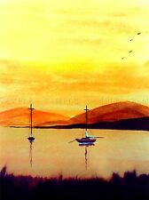 WATERCOLOR SAIL BOATS WATER PAINTING YELLOW ORANGE HOME PRINT POSTER BMP1048A