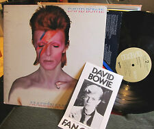 David Bowie Aladdin Sane w/lyric inner lsp-4852 gatefold LP '73 w/fanclub book!!