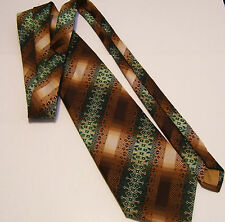 Vintage Torino Necktie 4 Inches Wide Brown and Green Pattern Retro Mid Century