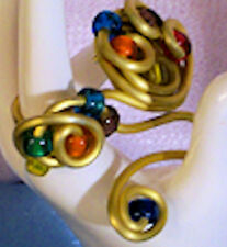 Modernism Art Deco Fashion Costume Jewelry Ring Brooch Pin Bead Coiled