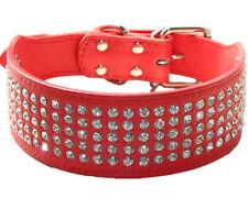 "2"" Leather Dog Collar Rhinestone crystal diamond Jeweled Medium Large Dog Collar"