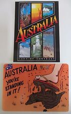 Two Postcards of Australia - Land of Contrast and You're Standing in it - 1990s