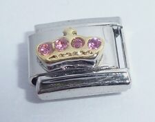 GOLD CROWN PINK GEMS Italian Charm I Love my Princess 9mm fits Classic Bracelets