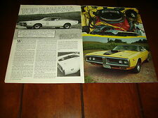 1971 DODGE CHARGER R/T SIX PACK  ***ORIGINAL 1987 ARTICLE***