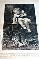 Baby in Highchair 1880 INFANT REACHING for TOYS Dolls Horse Antique Engraving