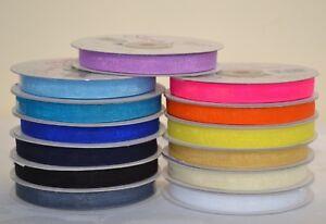 Organza Ribbon 10mm x 50 Yards - Variety of colours - Choose from drop down menu