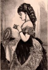 Antique Victorian Art print engraving 1873 lady Dressing for the Opera Fashion