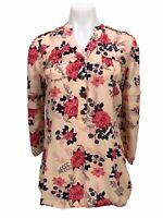 Matilda Jane Pink Floral Ruffle Shirt Top Blouse 3/4 Sleeve Women's Size S