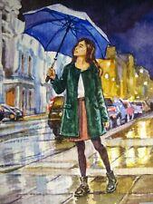 Watercolor Painting Umbrella Rain Woman City Street ACEO Art