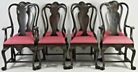 Set of 8 Solid Mahogany Georgian Dining Chairs Williamsburg Style Paw Feet