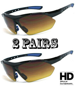 2 Pairs HD Amber Anti Glare Lens Inner Bifocal Sun Reader Sunglasses Mens Womens
