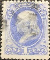 Scott #134 US 1870 One Cent Ben Franklin Postage Stamp XF