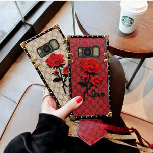 For Samsung S10 s20 Plus Luxury Embroidery Rose Flower Leather Strap Case Cover