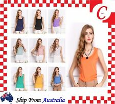 Women Blouse Chiffon Sleeveless Shirt Casual Round Neck Loose Tops Dress Thin