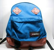 Vintage Eastpak Backpack Blue Hiking School Made in USA No 630 Leather Bottom