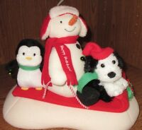 "2007 Hallmark Jingle Pals Animated Snowman Penguin Dog Sled  'Sleigh Ride'"" Work"