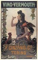Vino Vermouth 1900 Vintage Liquor Advertising Poster CANVAS PRINT 24x32 in.