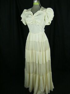 Vtg 40s Ivory Shirred Puff Sleeve Tiered Wedding Dress-Bust 33/2XS