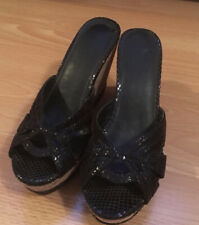 womens black wedge sandals size 7