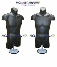 Male Mannequin Form & Hanger + Stand - Body Dress Torso Display Shirt Pant-BLACK