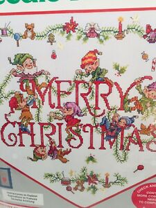 Needle Treasures Merry Elves Banner Counted Cross Stitch Kit Christmas 12x13 NEW