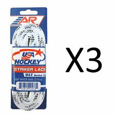 A&R Sports Usa Hockey Laces - Waxed Striker Laces - White 108 Inches (3-Pack)