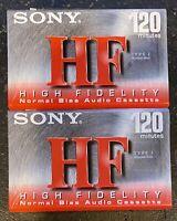 2 PACK - Genuine Sony High Fidelity HF 120 Minute Normal Bias Cassette Tape