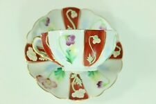 Vintage MERIT Teacup Set Cup and Saucer Hand Painted Made in Occupied Japan