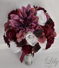 17Piece Package Silk Flower Wedding Bridal Bouquet PLUM MARSALA SANGRIA BURGUNDY