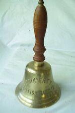 "Hand Held Brass Bell Property British Rail Ltd 9-3/4"" By 5"""