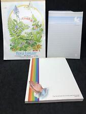 Vtg Stationery Letter Note Pads Bible Verse Paper Ephemera Floral Fantasy Garden